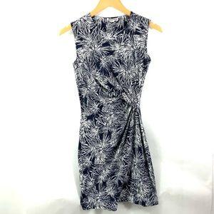 WHISTLES Navy Blue White Sleeveless Rauched Dress